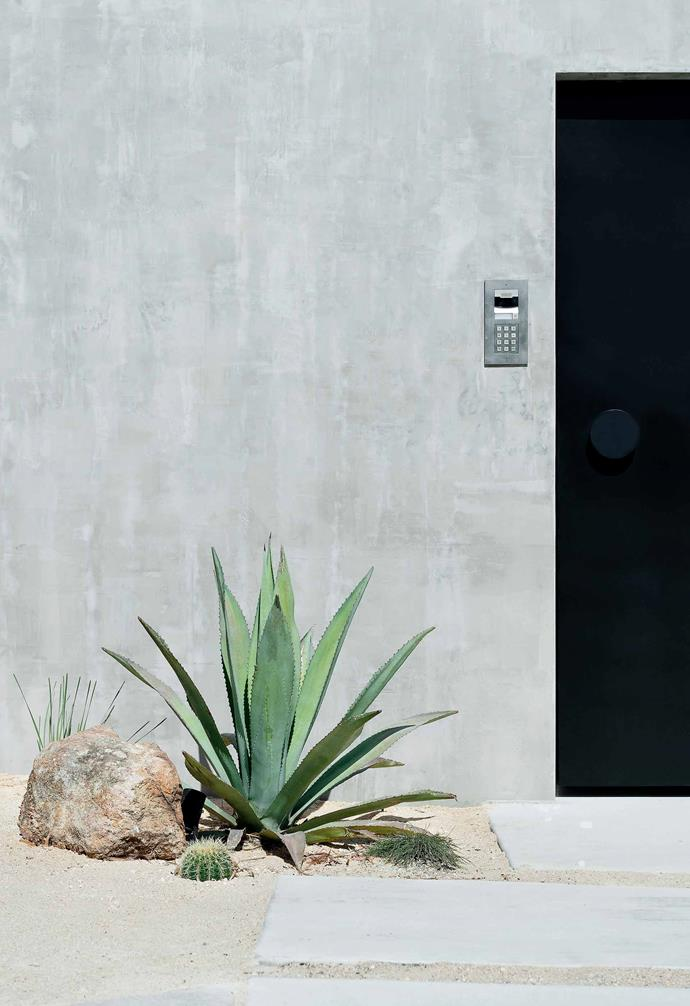 **Entry** The concrete walls are beautiful and super low-maintenance.
