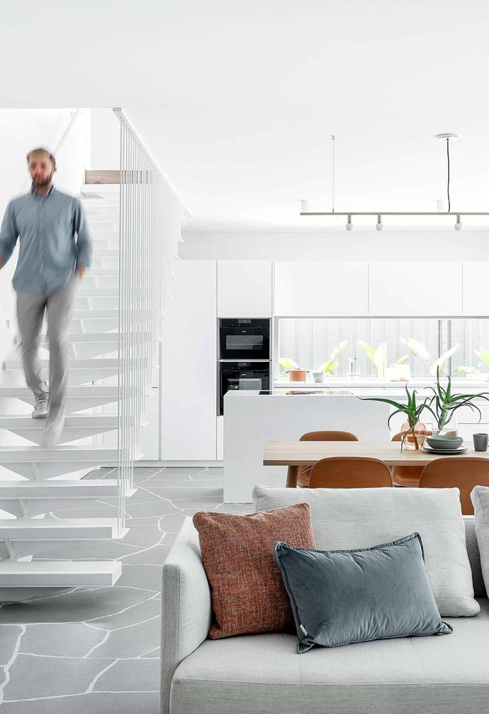 """**Living** Jason steps down amid a backdrop of [Dulux](https://www.dulux.com.au/ target=""""_blank"""" rel=""""nofollow"""") Natural White. Flooded with daylight, this space is a vision of quiet luxury. Resting on an [Armadillo & Co](https://usa.armadillo-co.com/ target=""""_blank"""" rel=""""nofollow"""") 'Nest Weave' rug in Natural is a Joco coffee table (neither is pictured target=""""_blank"""" rel=""""nofollow"""") and Prime Time sofa, the last two by Walter Knoll from [Living Edge](https://livingedge.com.au/ target=""""_blank"""" rel=""""nofollow"""")."""