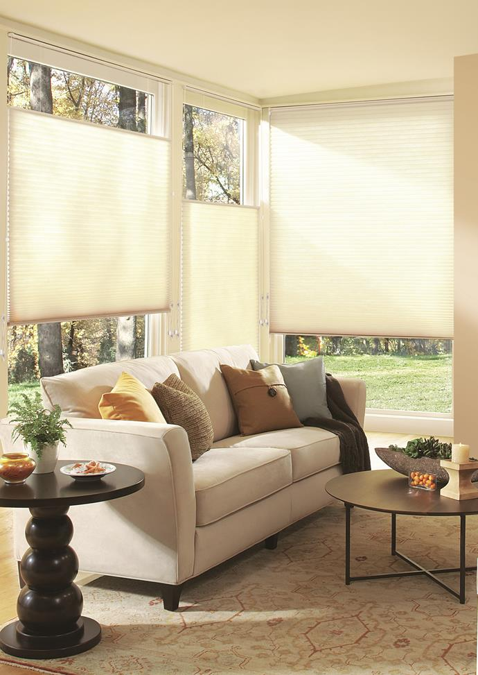 """**Invest in functional window treatments with flair** <br><br> Once you've got your fireplace set up (or air-con turned on), you'll want to keep the heat in with effective window treatments. Our pick? Wynstan's innovative [Whisper Cellular blinds](https://www.wynstan.com.au/product/whisper-cellular-shades/
