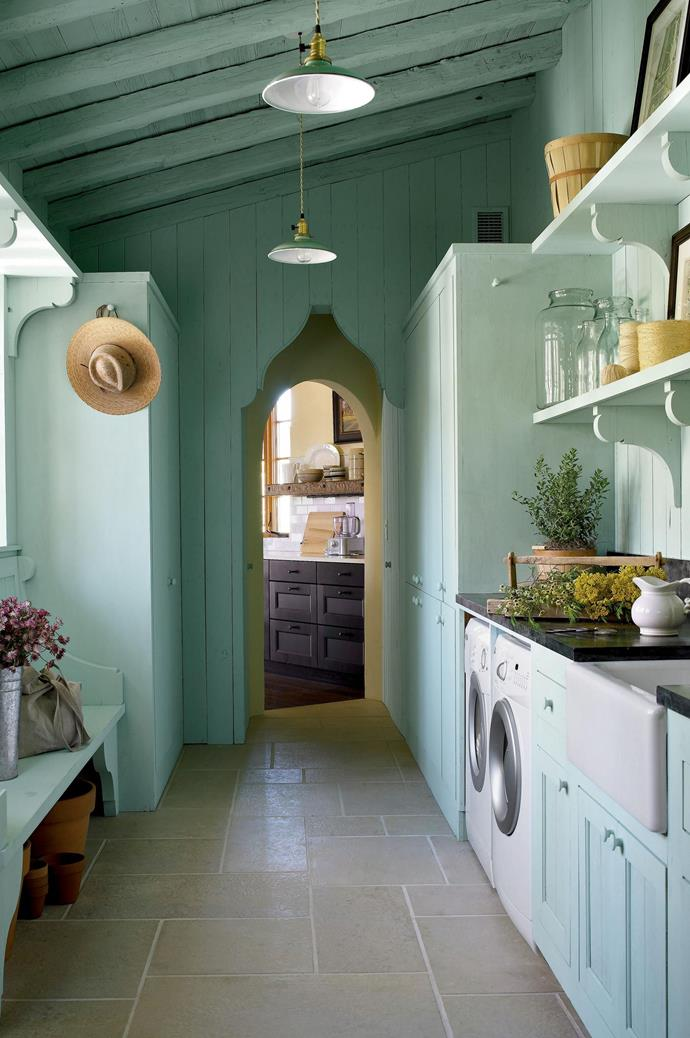 """Timber panelling and a fresh mint tone fills this laundry, by [Michael Imber](http://www.michaelgimber.com/