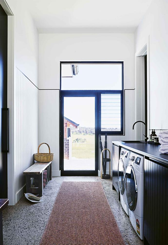 """The laundry in this [cosy country farmhouse](https://www.homestolove.com.au/country-farmhouse-17468