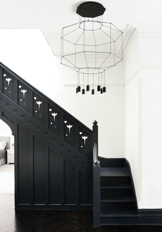 Vibia 'Wireflow 0300' pendant from Koda over the stairs