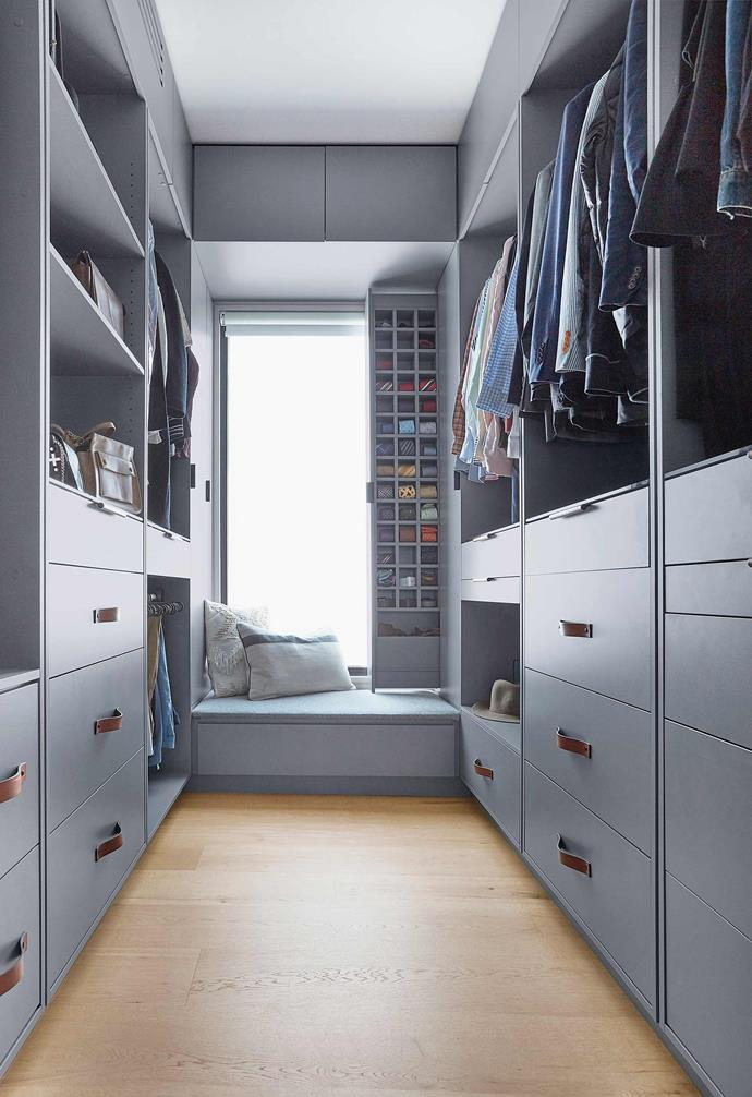 """Lots of drawers and shoe storage next to a built-in seat are the definition of luxury for Michelle and Leon Elski in their [Scandi-noir home](https://www.homestolove.com.au/scandi-noir-house-20344 target=""""_blank"""")."""