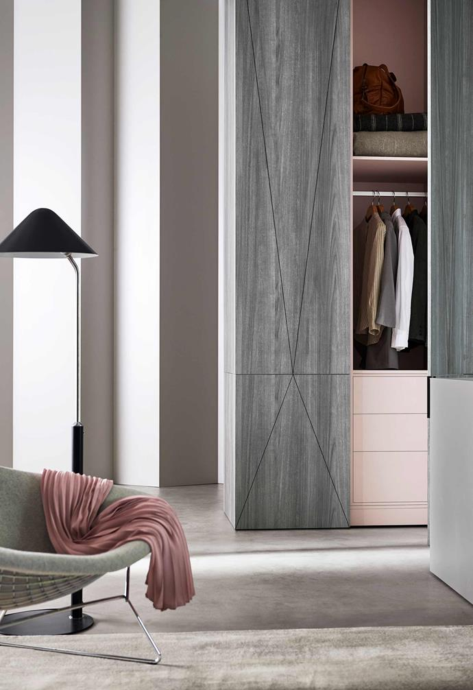 Creating a contrast between your external cabinet colours and internal tones can add a playful touch to any walk-in wardrobe.