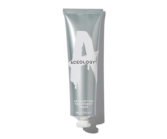 """Detoxifying treatment mask, $69, [Aceology](https://aceology.co/collections/treatment-masks/products/detoxifying-treatment-mask