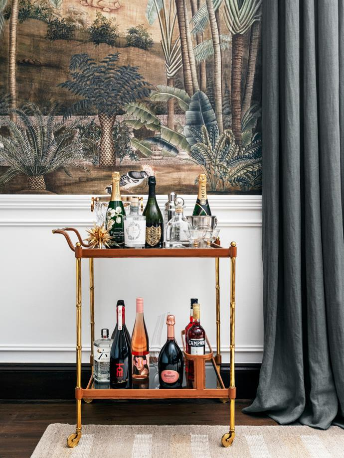Belle style director-at-large Steve Cordony's elegant rural property in Orange is a case study in luxe country living. His elegant styling skills are on display throughout the abode including in the living area where a chic bar cart adds a glamorous and nostalgic element to the space.