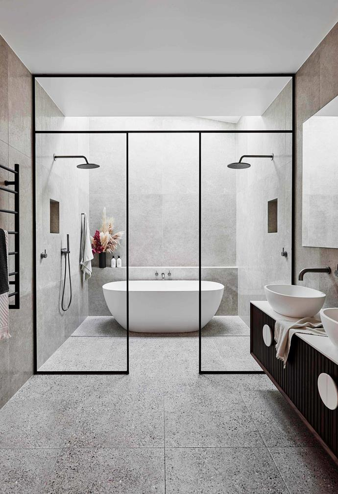 """**WILD ABOUT WALK-IN SHOWERS**<br><br>One of the [biggest bathroom design trends](https://www.homestolove.com.au/bathroom-trends-2020-20527