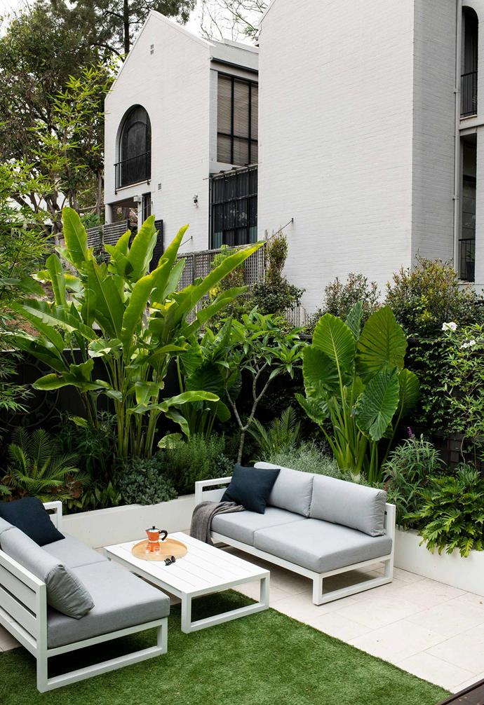 The outdoor entertaining setting is perfect for lounging year round.
