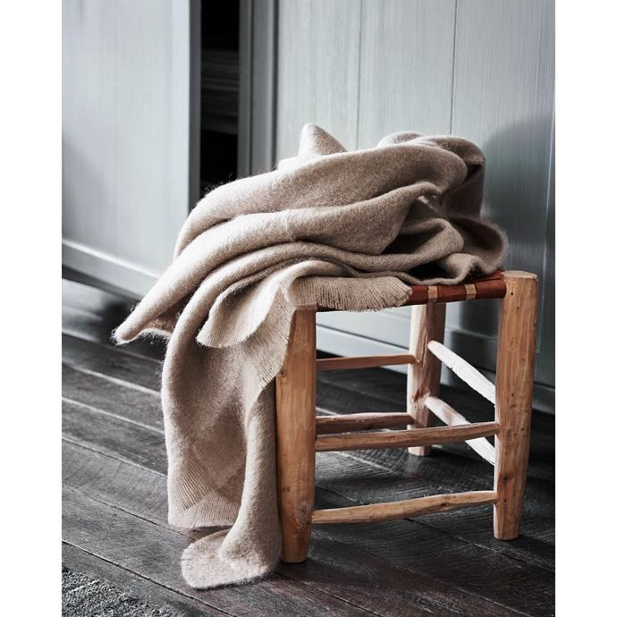 "Mohair Pebble throw, $275, [St. Albans](https://stalbans.com.au/collections/throws/products/mohair-pebble-throw|target=""_blank""