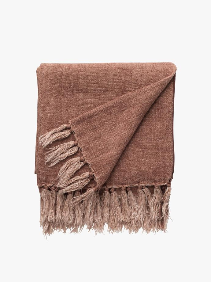 "Burton throw in Earth, $231, [L&M Home](https://www.lmhome.com.au/collections/throws/products/burton-throw?variant=20143806251062|target=""_blank""