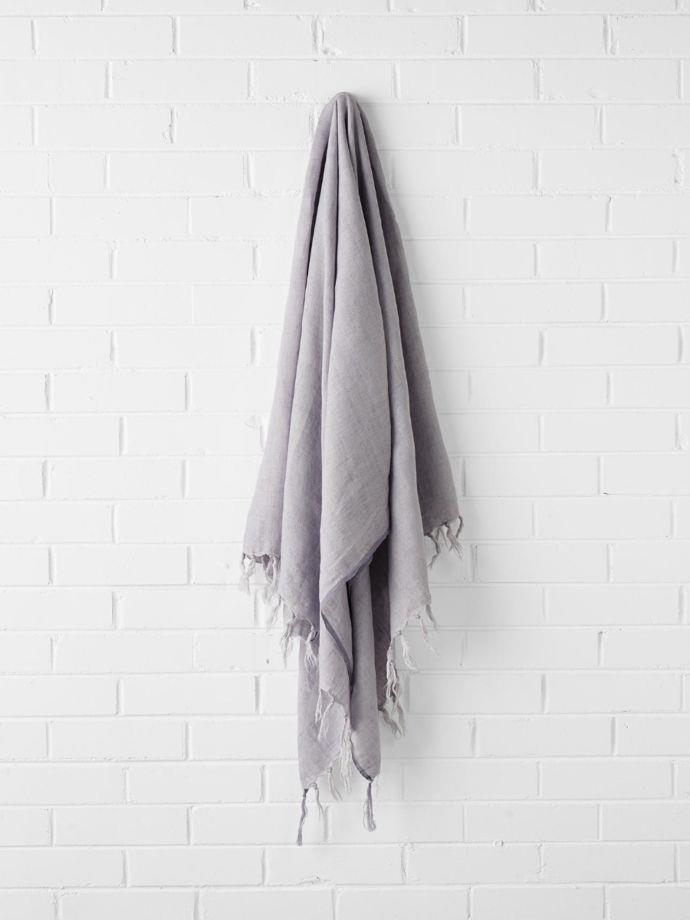"Vintage Linen Fringe throw in Iris,$149, [Aura Home](https://www.aurahome.com.au/vintage-linen-fringe-throw-iris|target=""_blank""