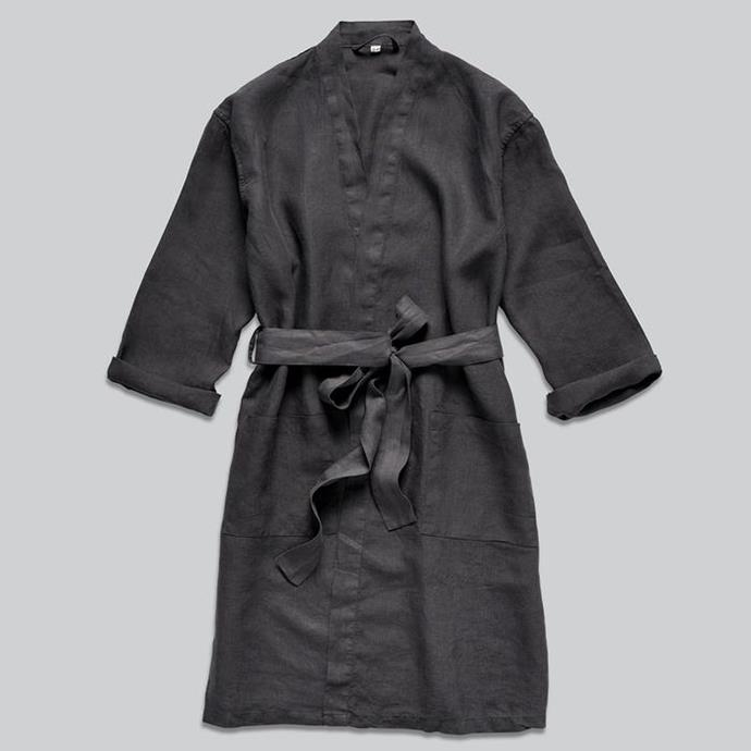 "100% Linen Robe in Kohl, $140, [In Bed Store](https://inbedstore.com/collections/robes/products/100-linen-robe-in-kohl|target=""_blank""