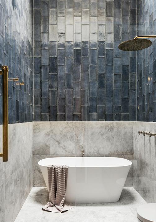 Industrica showerhead and Yokato taps, Brodware. Vetralla freestanding bath, Victoria+Albert.