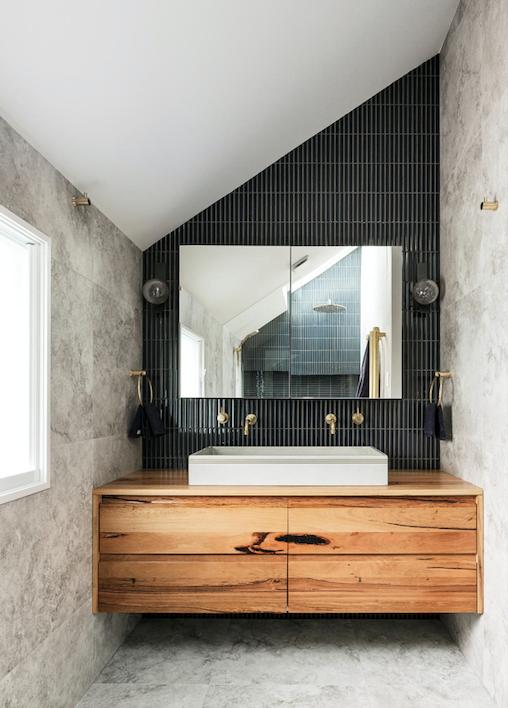 Recycled-timber vanity, Ingrain Design.