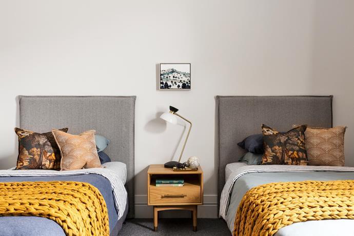 Beds, H&J Furniture. Table lamp, West Elm. Bedside table, Castlery. Artwork by Kristen Lethem, Art2Muse Gallery.
