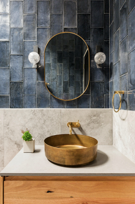 Arroyo basin, Merwe Bathware. Mirror, Warranbrooke. Articolo Lighting 'Fizi' wall lights, Est Lighting.