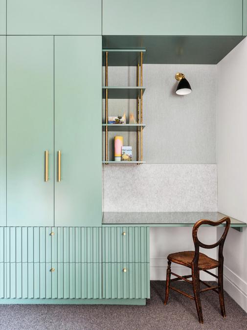 Bestlite BL7 wall lamp, Cult. Brass pulls, Lo & Co. Joinery in Dulux Sloane. Flamant 'Les Unis' linen wallpaper, Arte International. Ceramics, Jones & Co. Samurai Ishi carpet, Cavalier Bremworth. The chair is a family heirloom