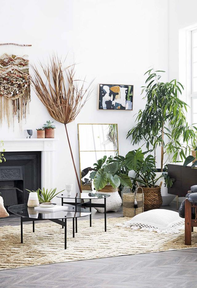 **Plant matter** Living plants and accessories crafted from natural fibres can work together to soften a room.