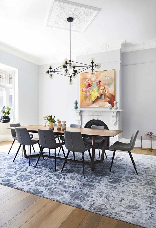 **Oversized rug** This creates a zone unto itself that makes a space feel more layered and special.
