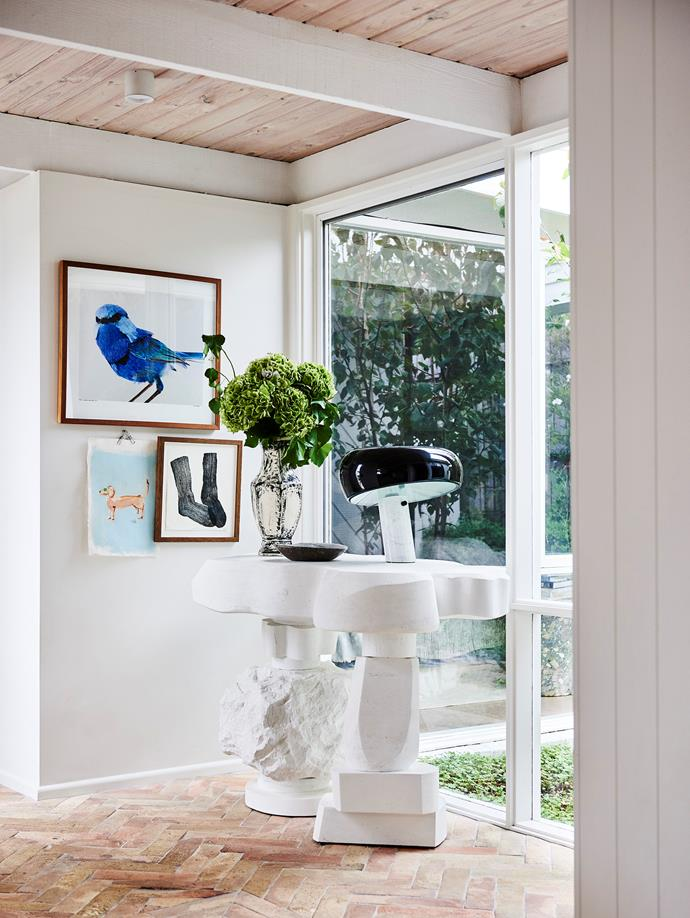 """""""My favourite item in the home is our commissioned Den-Holm console. It's handcrafted by the brand's founder, Steven Clark, using limestone and is completed with a fossilised shell in the tabletop so it's super special,"""" says Prudence of the unique piece."""