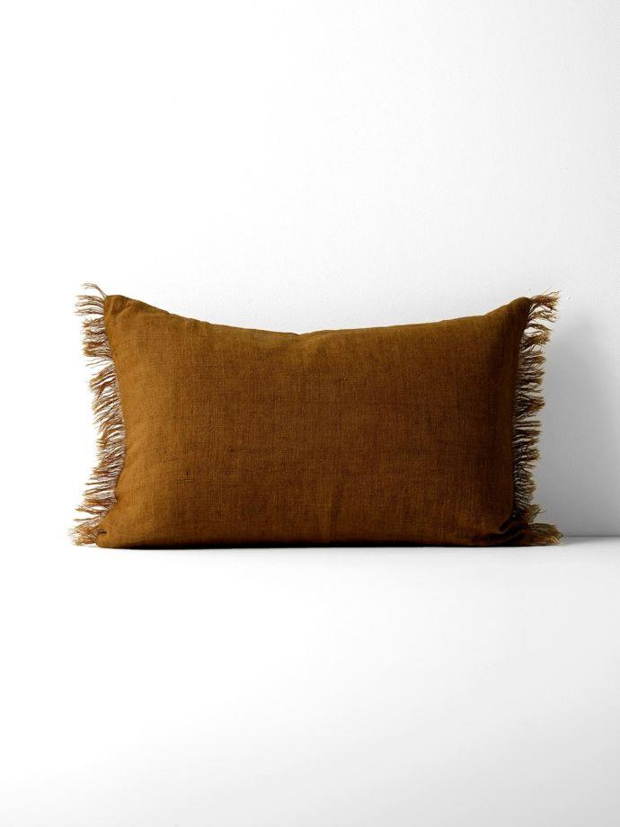"Vintage Linen Fringe Rectangle Cushion - Tobacco, $59.95, [Aura Home](https://www.aurahome.com.au/vintage-linen-fringe-rectangle-cushion-tobacco|target=""_blank""