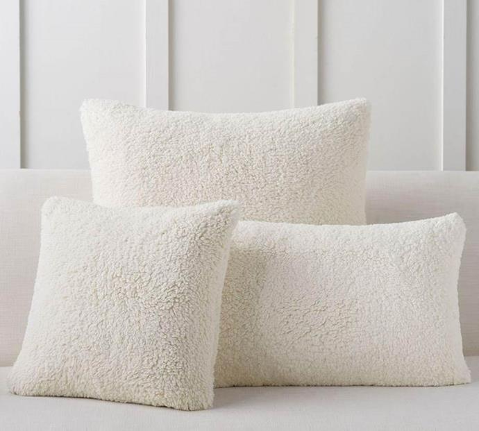 "Faux Sheepskin Cushion Covers, $39, [Pottery Barn](https://www.potterybarn.com.au/faux-sheepskin-pillow-covers|target=""_blank""