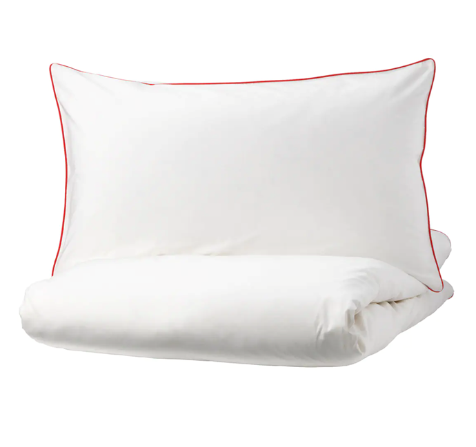 "KUNGSBLOMMA Quilt cover and 4 pillowcases, $49, [Ikea](https://www.ikea.com/au/en/p/kungsblomma-quilt-cover-and-4-pillowcases-white-red-40423173/|target=""_blank""