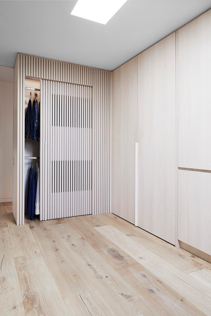 "As there was no outside access for a drying rack, a multi-use cupboard was created. ""I needed to get ventilation to the cupboard, so this was a starting point for the battened timber used in the joinery."""