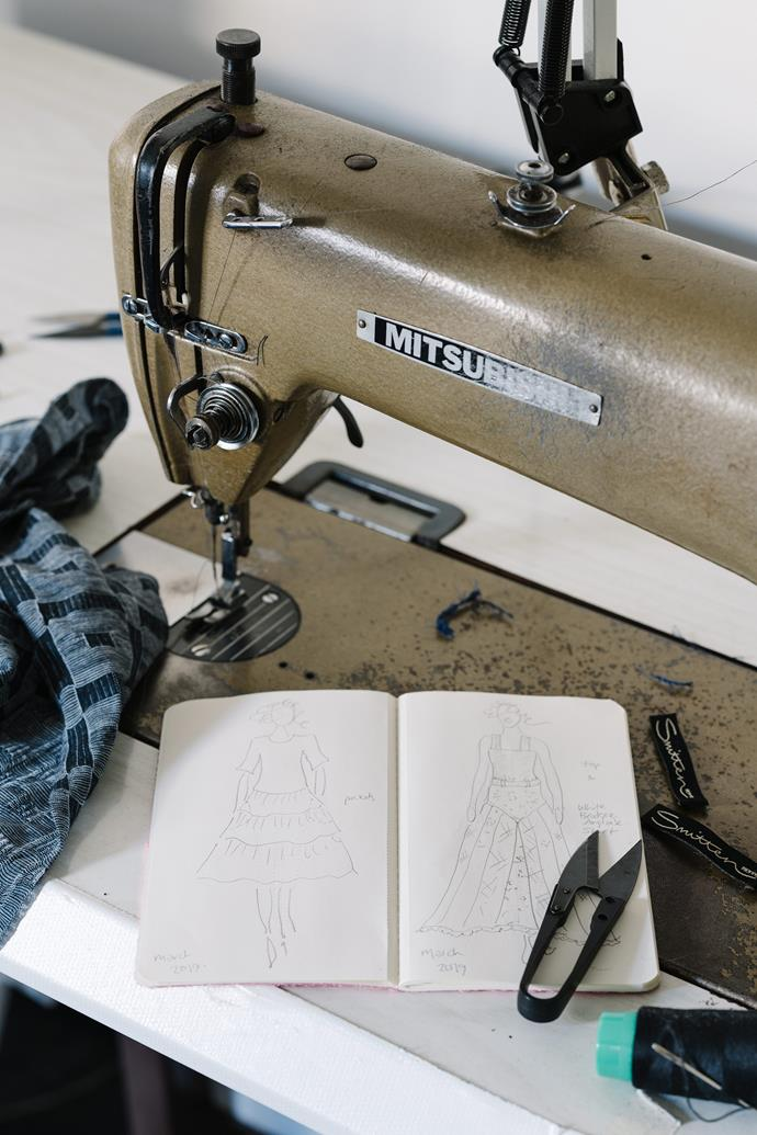 When developing a new range, Nicola starts by sketching designs for her pattern maker.