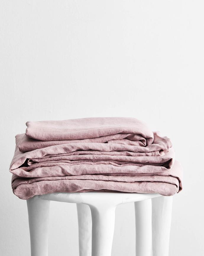 "Lavender 100% Flax Linen sheet set, from $260, [Bed Threads](https://bedthreads.com.au/products/lavender-100-flax-linen-sheet-set?variant=11927113596975|target=""_blank""