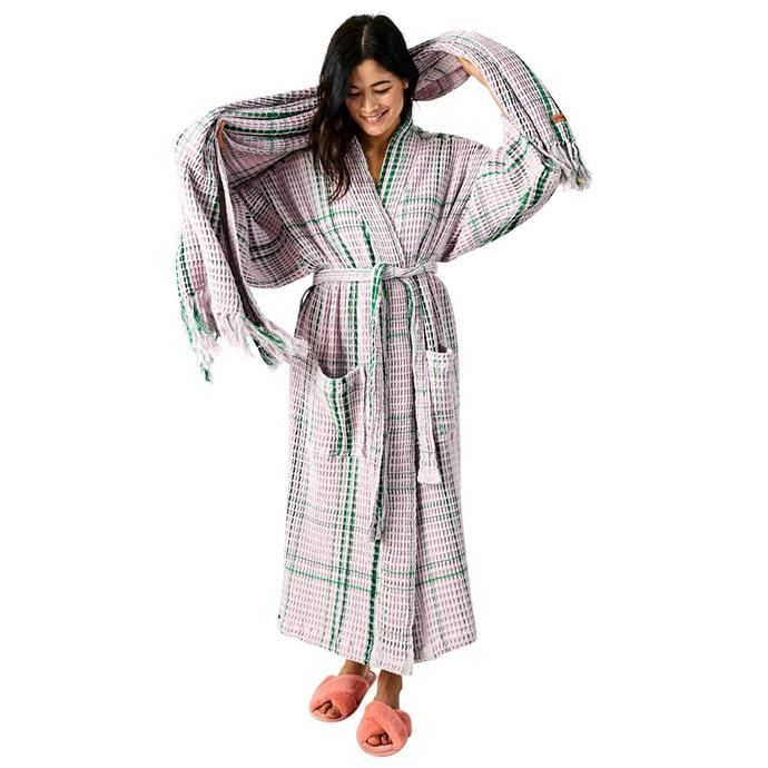 "Lilac Moss bath robe, $99, [Kip & Co](https://kipandco.com.au/collections/gift-guide/products/lilac-moss-bath-robe|target=""_blank""