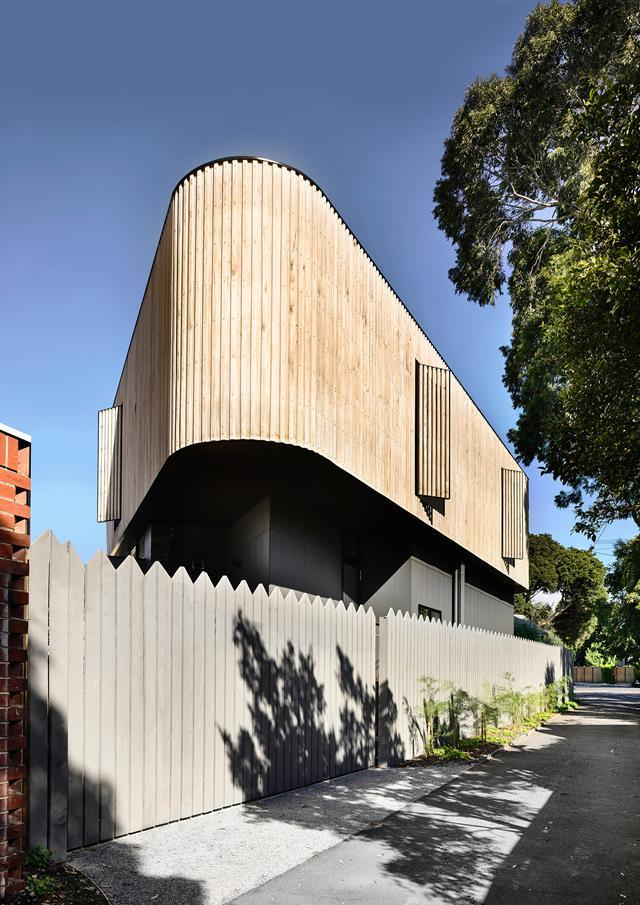 "This inventive [family home](https://www.homestolove.com.au/triangular-block-home-design-19314|target=""_blank"") in south-east Melbourne occupies a relatively modest 200m2. The top floor is wrapped in silvertop ash, while the ground-floor has James Hardie Scyon 'Axon' fibre-cement exterior cladding."