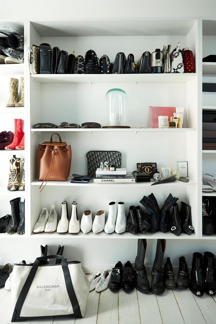 """Amanda Shadford, the founder of Oracle Fox, met with a cabinetmaker to design a wardrobe that would fit all different shoes heights in her [Palm Springs-inspired Queensland home](https://www.homestolove.com.au/oracle-fox-amanda-shadforth-home-20153
