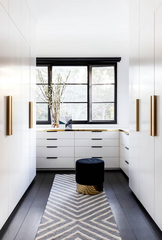 """Arent&Pyke designed this walk-in robe to fit with Art-Deco- heritage of the [Spanish Mission home in Sydney](https://www.homestolove.com.au/spanish-mission-home-in-sydney-6324
