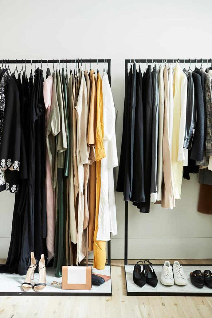 """Long hanging space ensures clothes aren't crushed or ruined. Instead of cramping clothes into one segment, look to expand and utilise side-wall space. La Porte Space founder, Hayley Bonham's neutral-hued wardrobe is used as decor display in her [minimalist, fashionable apartment](https://www.homestolove.com.au/hayley-bonham-home-20627