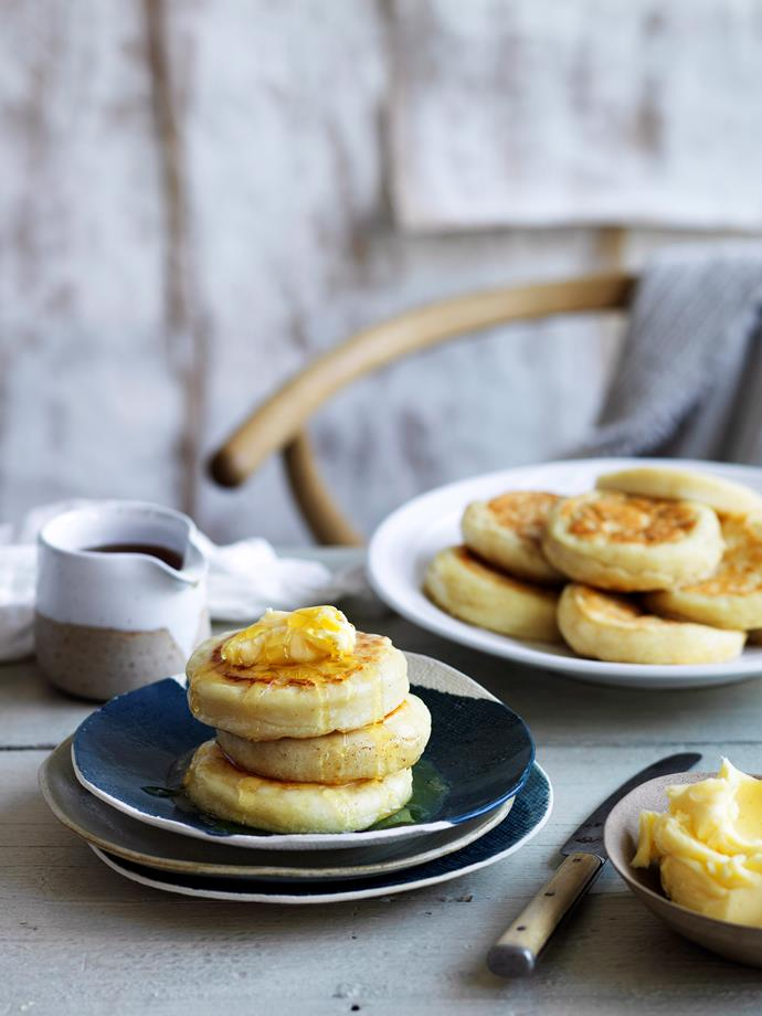 Meet your new breakfast favourite, warm and fluffy crumpets slathered with butter and honey.