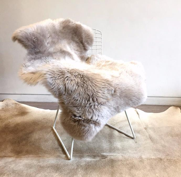 "Australian Merino Sheepskin in Camel, $169, [Sourceress the Store](https://sourceressthestore.com.au/products/long-wool-sheepskin-rug-camel|target=""_blank"")"