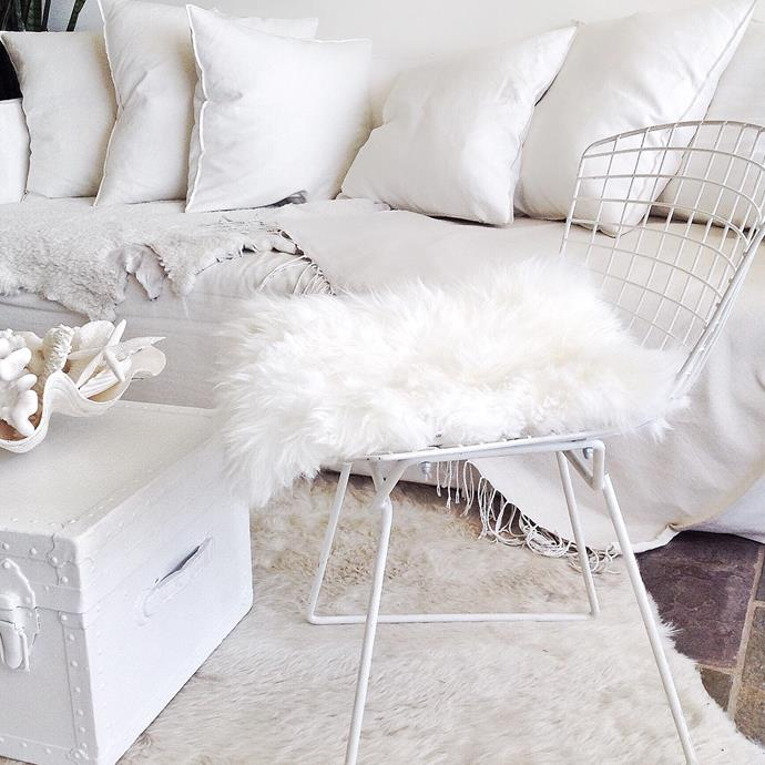 "Sheepskin Seat Pad in Ivory, $45, [Sourceress the Store](https://sourceressthestore.com.au/collections/sheepskins/products/sheepskin-seat-pad-ivory|target=""_blank""