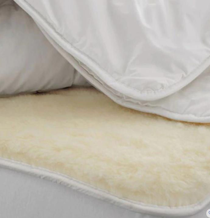 "Deluxe Wool Underlay, Queen, $599.95, [Sheridan](https://www.sheridan.com.au/deluxe-wool-underlay-s12k-b104-c205-003-snow.html|target=""_blank"")"