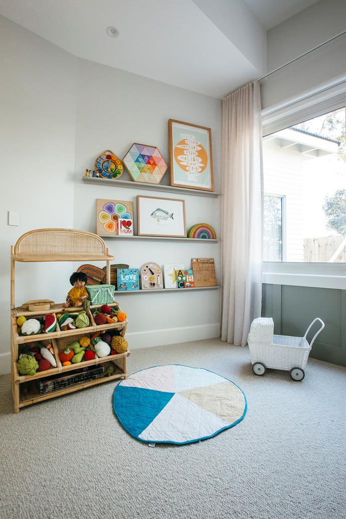 """Style bookshelves with your little one's favourite books and toys and change them up as their favourites change,"" says Kara."