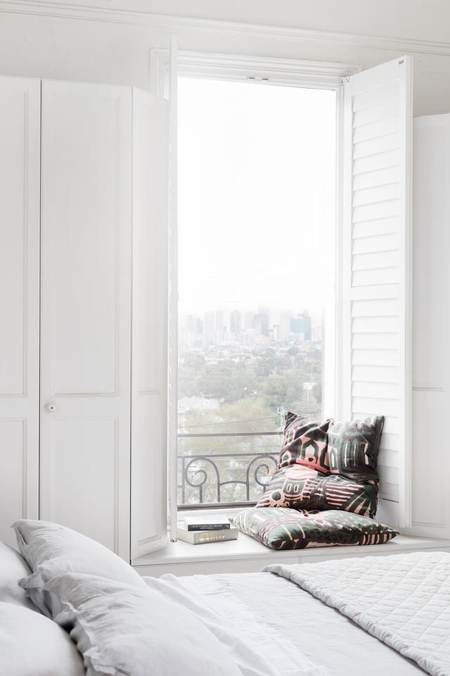 """The master bedroom in this [redesigned Victorian home in north-Melbourne](https://www.homestolove.com.au/redesign-of-a-victorian-home-19186