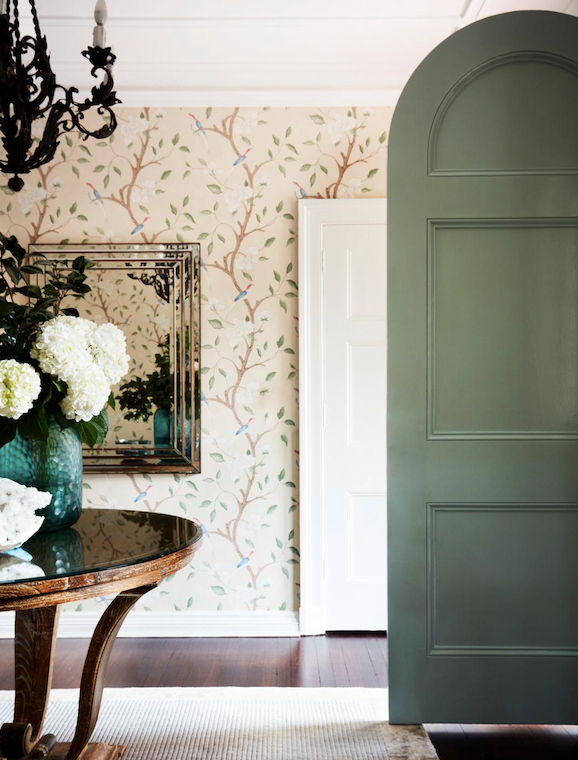 Zoffany 'Eleanor' wallpaper. Vases and 1920s chandelier, Conley & Co.
