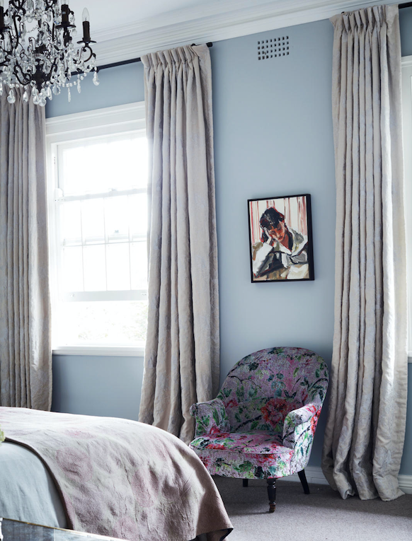 Curtains in Mokum 'Petit Trianon', No Chintz. Accent chair covered in Designers Guild 'Velvet Dreams' fabric. Lamp, Bloomingdales Lighting. Carpet, Max Lawson. Artwork by Robert Malherbe.