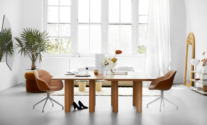 """Two Sarah Ellison-designed Earth tables make up the spacious work desk which is positioned away from the walls. """"A central [desk](https://www.homestolove.com.au/how-to-choose-the-right-desk-chair-15430