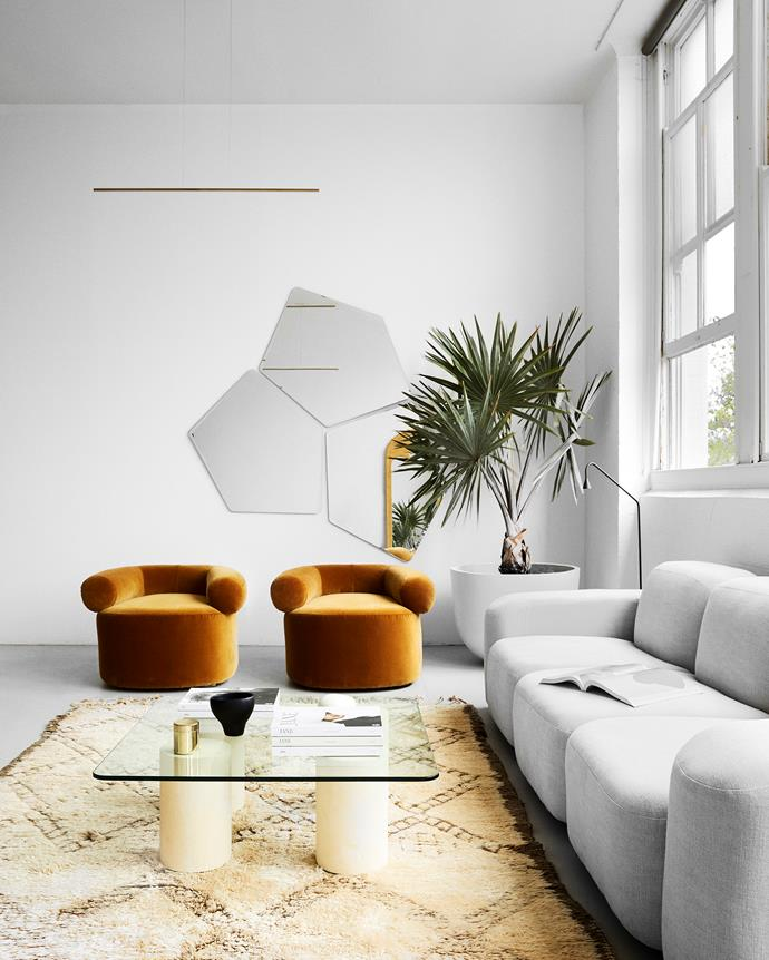 """The lounge area features Sarah's linen Muse sofa and velvet Huggy armchairs. The [indoor plant](https://www.homestolove.com.au/top-15-indoor-plants-13251