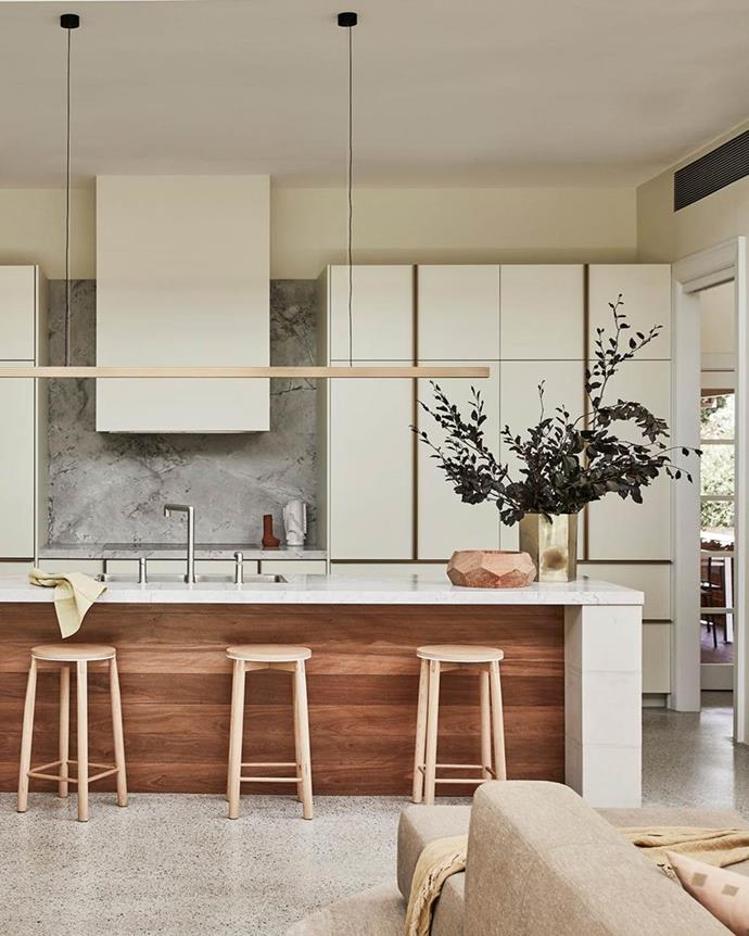 "In a [renovated Federation home in Sydney](https://www.homestolove.com.au/renovated-federation-house-balances-old-and-new-21148|target=""_blank""), which found the perfect balance of period character and fresh new features, a long copper Capital pendant from Archier picks up the warm neutral tones of the whole house."