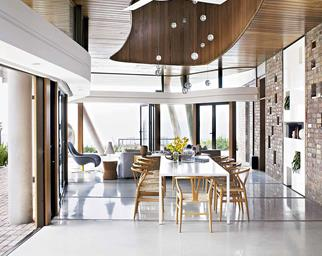 dining room open plan sustainable-coastal home Feb14