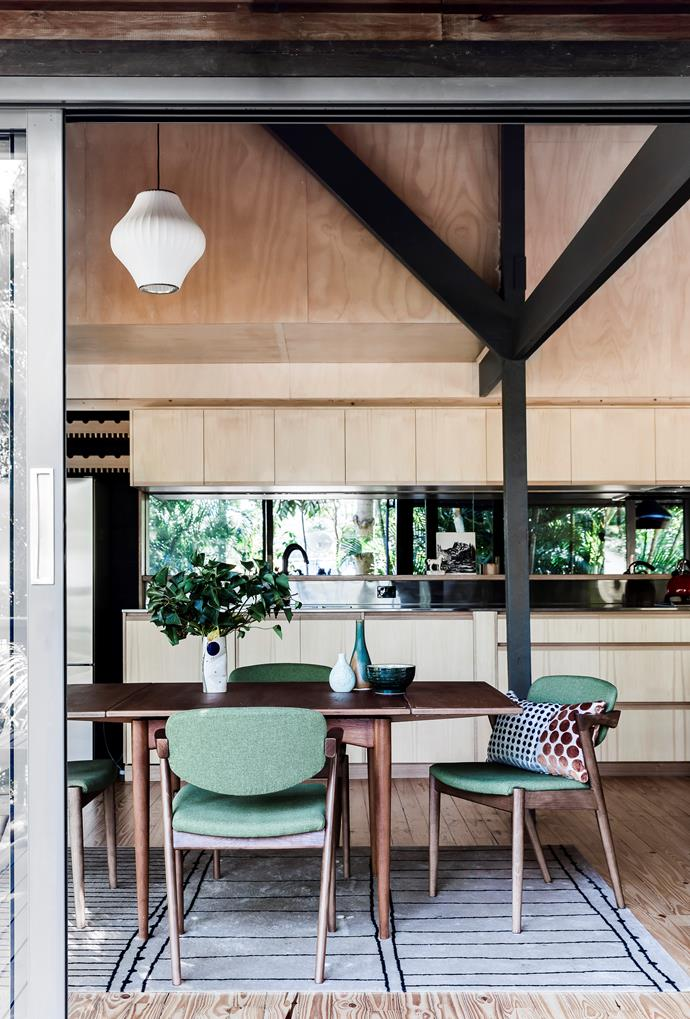 """Plywood-clad ceilings and cabinetry are paired with a pale timber floor in this [modernist home in Brisbane](https://www.homestolove.com.au/renovation-of-modern-timber-home-6564