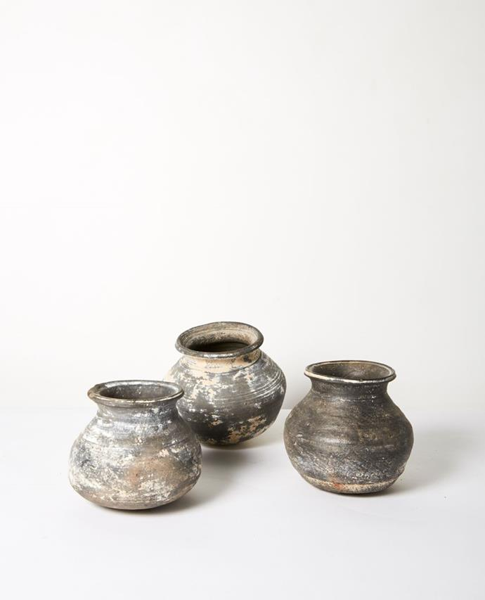 "Kabir Vintage Clay Pot, $39.95, [Papaya](https://www.papaya.com.au/kabir-vintage-clay-pot-black-assorted|target=""_blank""