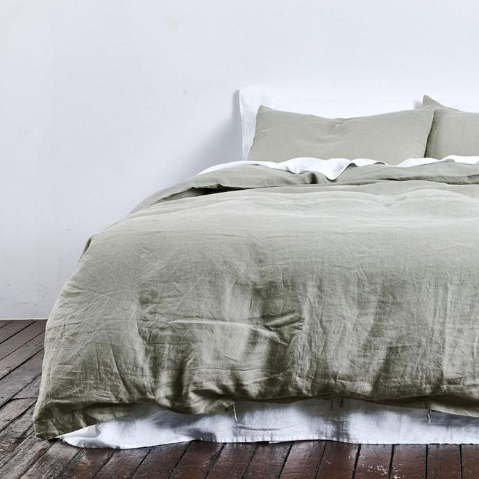 "100% Linen Duvet Queen Cover in Stone, $295, [In Bed](https://inbedstore.com/products/100-linen-duvet-cover-in-stone?variant=28417538916432|target=""_blank""